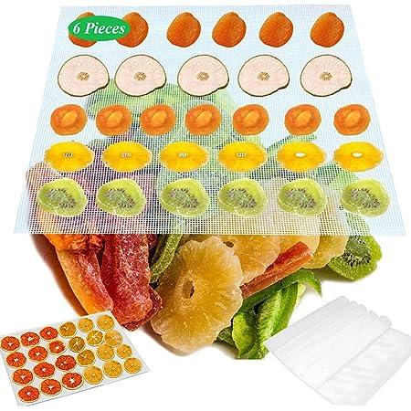 LWZko 6 Pièces Feuilles Déshydrateur Silicone, Anti-Adhésif Tapis Silicone, Maille Séchoir à Fruits, 28,5 x 38,5 cm Réutilisable Antiadhésif Silicone Feuilles Déshydrateur pour Séchoir Fruits
