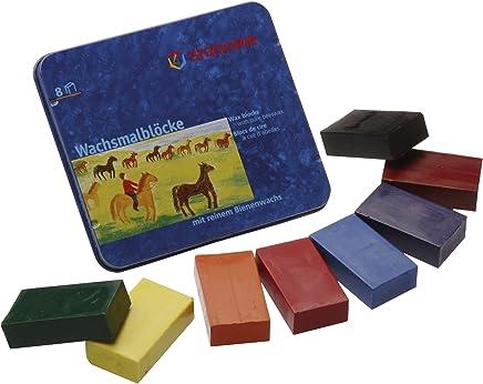 Stockmar 204884258 Wachsmalblöcke (8 Blöcke, wasserfest, aus Bienenwachs, im Blechetui)