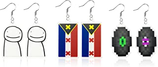 Laffact 3 Pairs Dream SMP Mcyt Earrings Unique L'manberg Flag Acrylic Earrings Jewelry For Women Girls Cute Anime Figure P...
