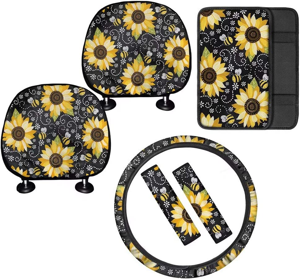 FOR U Max 65% Detroit Mall OFF DESIGNS 2pc Head Rest + A Wheel 1 Cover Steering