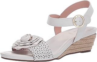 Taryn Rose Women's Ankle Strap Espadrille Wedge Sandal, WHITE, 6 Medium