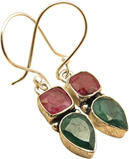 2 STONE Earrings ! Natural RUBY & EMERALD Birthday Gift ! 925 Sterling Silver Plated Fashion Jewelry