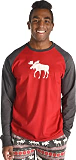 Lazy One TS269 Moose Fair Isle Red Multicolour Long Sleeve Pyjama Top