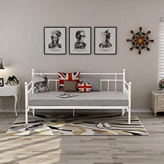 HOMERECOMMEND Metal Daybed Frame Steel Slats Platform Base Box Spring Replacemen Bed Sofa for Living Room Guest Room (Twin, White)