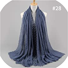 New Designs Cotton Scarf Beads Bubble Pearl Wrinkle Shawls Drape Stitching Fringe Crumple Muslim Scarves 55 Color