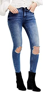 Free People Womens Destroyed High Rise Cropped Jeans