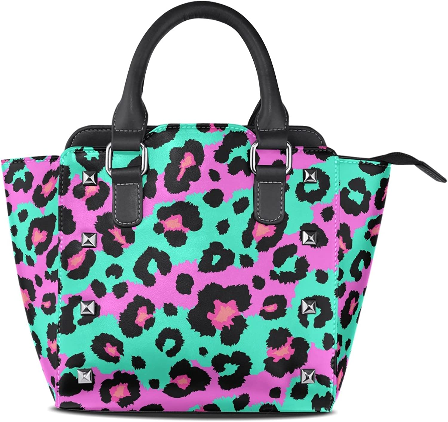 My Little Nest Women's Top Handle Satchel Handbag colorful Leopard Pattern Ladies PU Leather Shoulder Bag Crossbody Bag