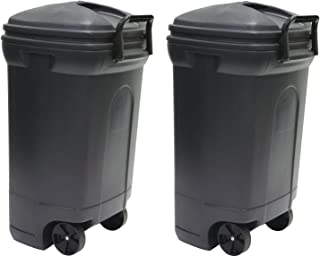 United Solutions TB0010 Rough and Rugged Rectangular 34 Gallon Wheeled Black Outdoor Trash Can with Hook&Lock Handle-Thirty Four Gallon Garbage Can with Locking Handles (2 Trash Can)