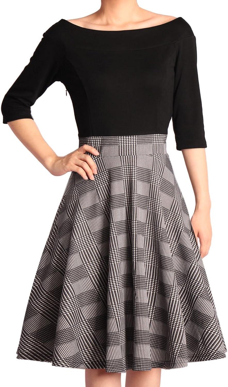 GODTLIV Women's Vintage Dresses  Boat Neck Dresses 3 4 Sleeve Patchwork Lattice Casual Evening Dress 00005