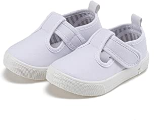Toddler Little Girls T-Strap Canvas Sneakers Comfortable...