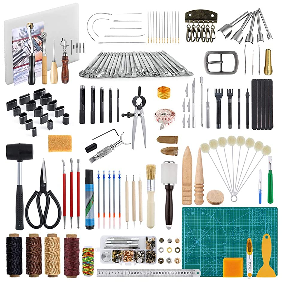Caydo 200 Pieces Hand Leathercraft Working Tool Kit with Instructions Adjustable Swivel Knife, Prong Punch, Hole Hollow Punch, Matting Cut for DIY Leather Artworks
