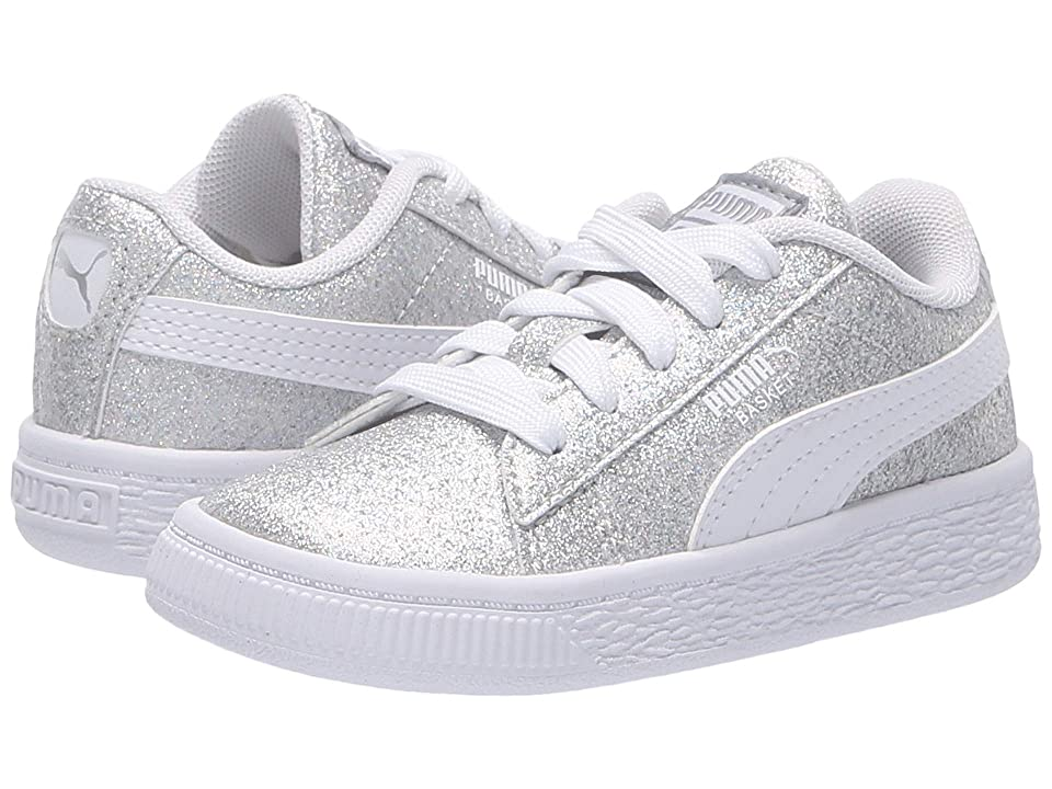 Puma Kids Basket Holiday Multi Glitz Inf (Toddler) (Puma Silver/Puma White) Girls Shoes