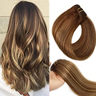 Clip In Human Hair Extensions Double Weft Brazilian Hair 120g 7pcs Chocolate Brown to Dark Blonde Highlight Chocolate Brown Full Head Silky Straight 100% Human Hair Clip In Extensions 18 Inch