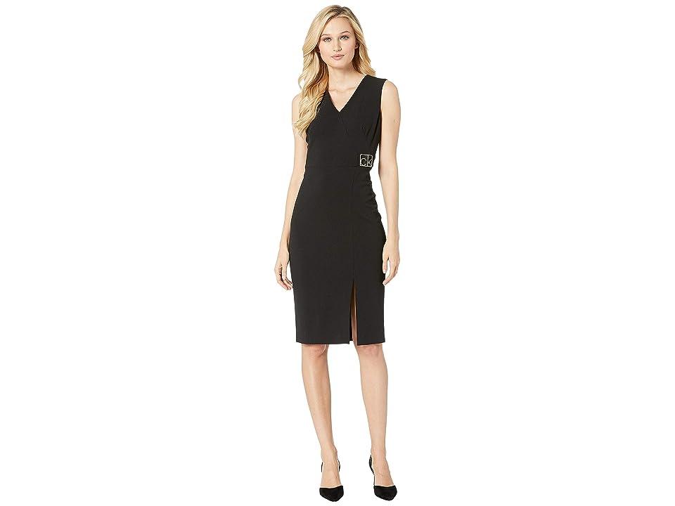 Calvin Klein V-Neck Sheath Dress with Side Logo and Front Slit CD8C15XY (Black) Women