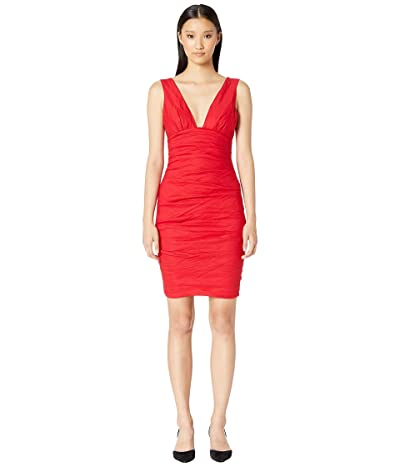 Nicole Miller Solid Cotton Metal Plunge Dress (Lipstick Red) Women