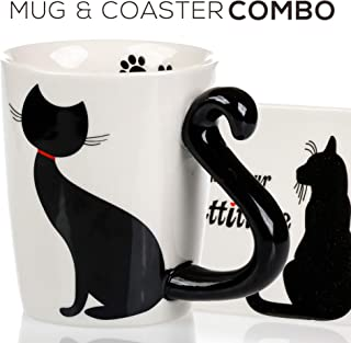 Cat Mug & Coaster Gift Set - Unique Hand Painted Novelty 3D Black Kitty Ceramic Coffee Mugs Gifts. Includes Cute Coaster With a Fun I Like Your Cattitude Phrase. Cool tea cup or Kitchen Bedroom Decor