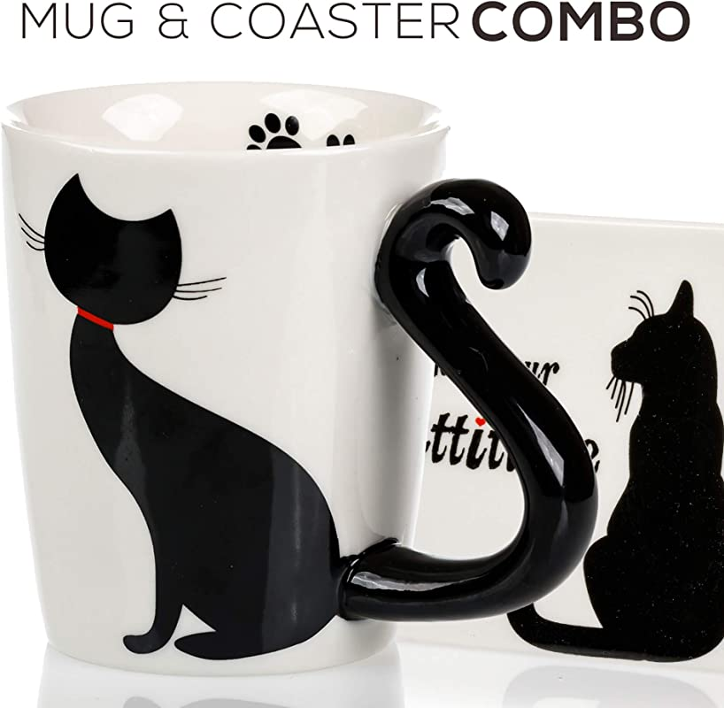 Cat Mug Coaster Gift Set Unique Hand Painted Novelty 3D Black Kitty Ceramic Coffee Mugs Gifts Includes Cute Coaster With A Fun I Like Your Cattitude Phrase Cool Tea Cup Or Kitchen Bedroom Decor