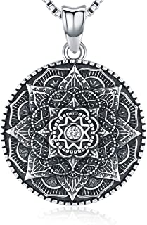 Friggem Mandala Flower Pendant Necklace for Women Girls, 925 Sterling Silver Pendant, 18 mm Round Charm Necklace Perfect Jewelry Gift - Oxidation Effect