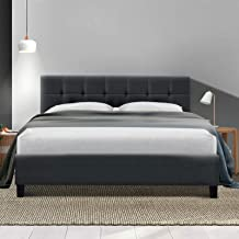 Queen Bed Frame Fabric - Charcoal