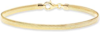 18K Gold over Sterling Silver Italian Solid 4mm Flat...