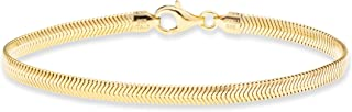 18K Gold Over Sterling Silver Italian Solid 4mm Diamond-Cut Flat Snake Dome Herringbone Chain Link Bracelet for Women Men 6.5, 7, 7.5, 8, 8.5 Inch Made in Italy