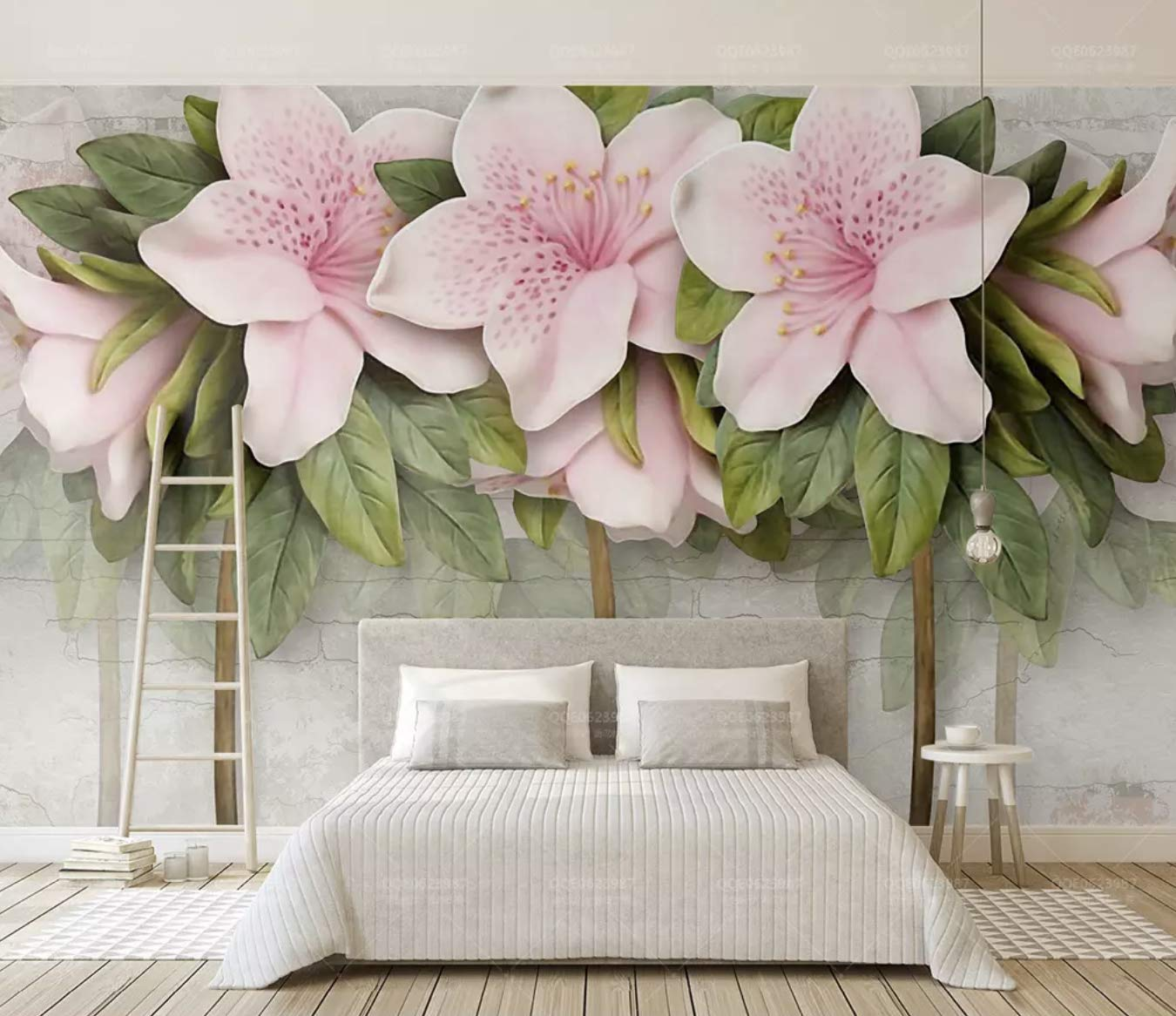 Amazon Com Murwall Floral Wallpaper Lily Flower Wall Mural 3d Flower Wall Decor Classic Cafe Decor Living Room Bedroom Entryway Tools Home Improvement