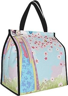 Y-shop Music Decor Collection Oriental Girl Near Cherry Blossoms Spring Petals Butterfly Grassland Japan Design Print Blue...