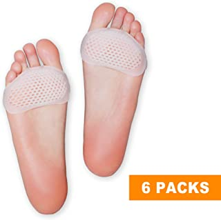 Hecmoks Metatarsal Pads Ball of Foot Cushions - Soft Gel Ball of Foot Pads - Mortons Neuroma Callus Metatarsal Foot Pain Relief Bunion Forefoot Cushioning Relief Women Men (6 Pairs)