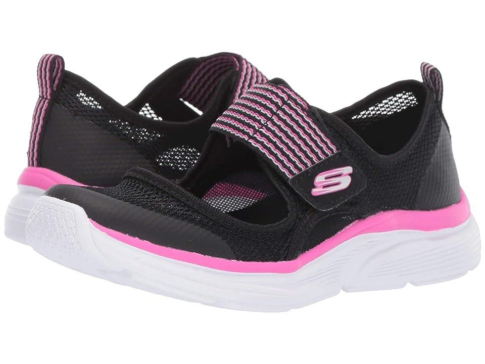 SKECHERS KIDS Wave Lites (Little Kid/Big Kid) (Black/Hot Pink) Girl