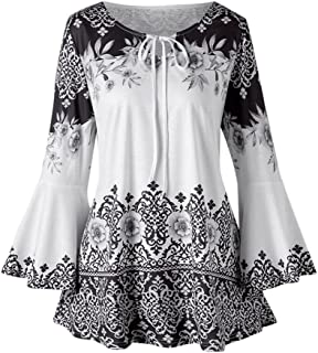 Womens Loose Printed 3/4 Flare Sleeve Blouse, Ladies Casual Fashion Summer Autumn Keyhole T-Shirts