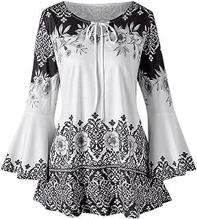 Realdo Womens Floral Print Plus Size Drawstring Ruffle Flare Sleeve Tops Blouses Keyhole T-Shirts