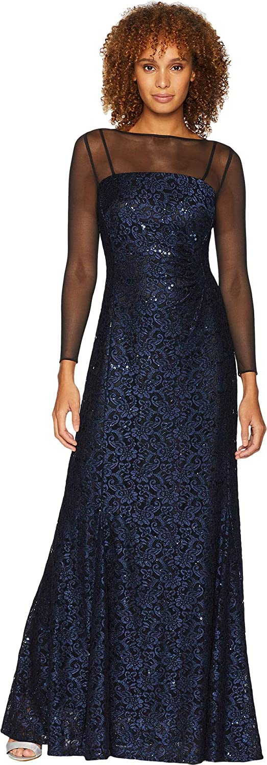 Tahari by ASL Long Sleeve Sequin Lace Column Gown with Illusion Neckline Black/Navy 16