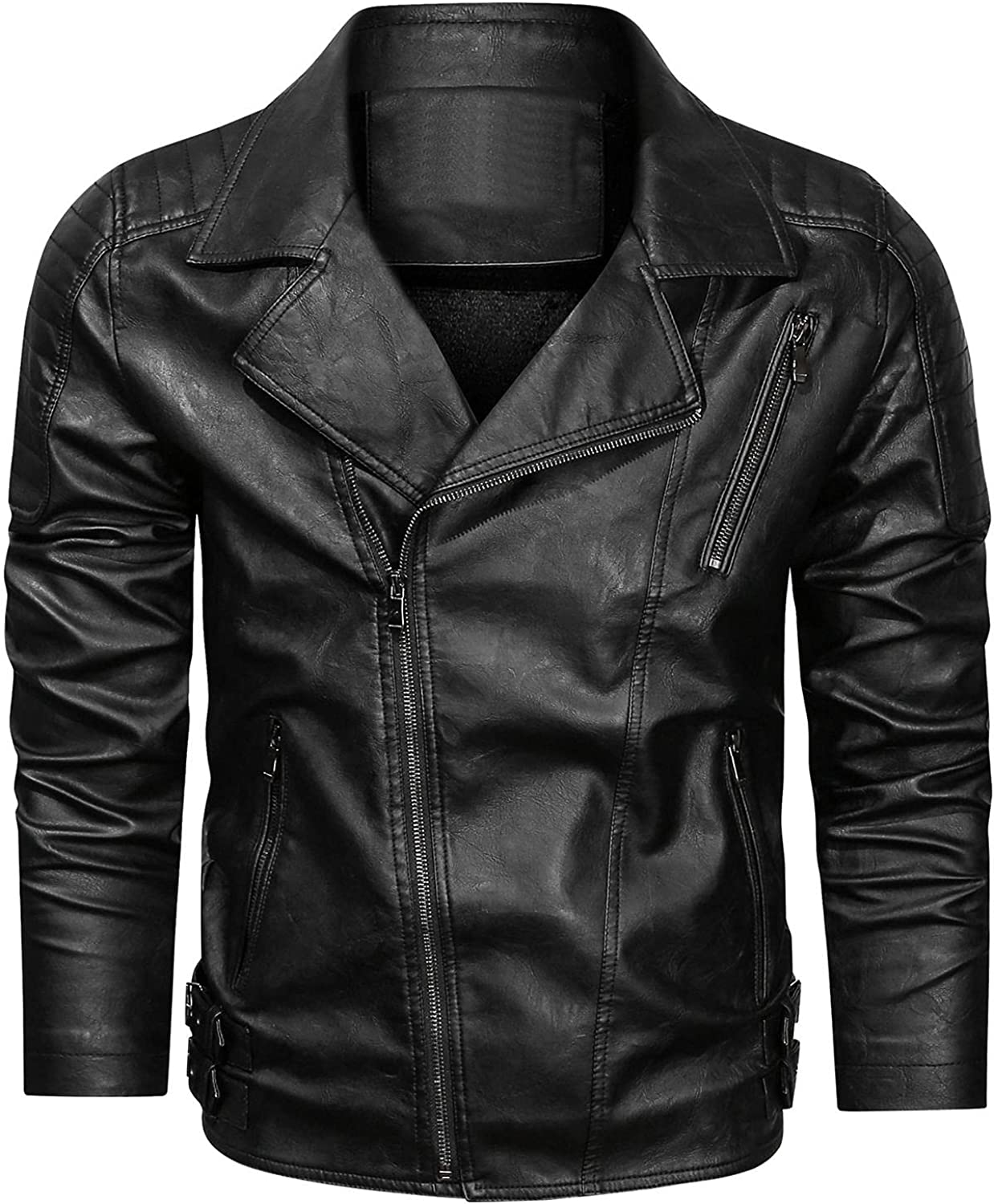 Mens Faux Leather Motorcycle Jacket Band Collar Full Zip Fleece Lined Slim Distressed Faux Leather Moto Jacket
