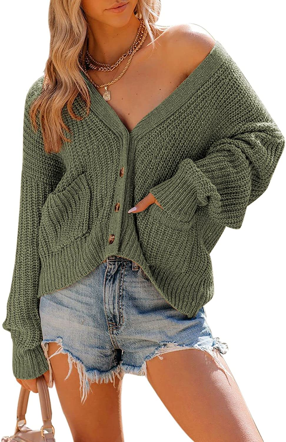 Linsery Cozy Chunky Knit Button Open Front Short Crop Cardigans for Women