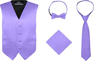 Boy's 4 Piece Vest Set, with Bow Tie, Neck Tie & Pocket Hankie