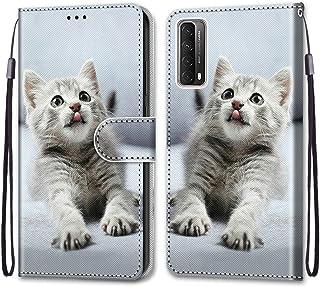 Nadoli Färgglatt plånboksfodral för Huawei P Smart 2021, rolig djur blommig fjäril kreativ design PU-läder magnetisk flip ...