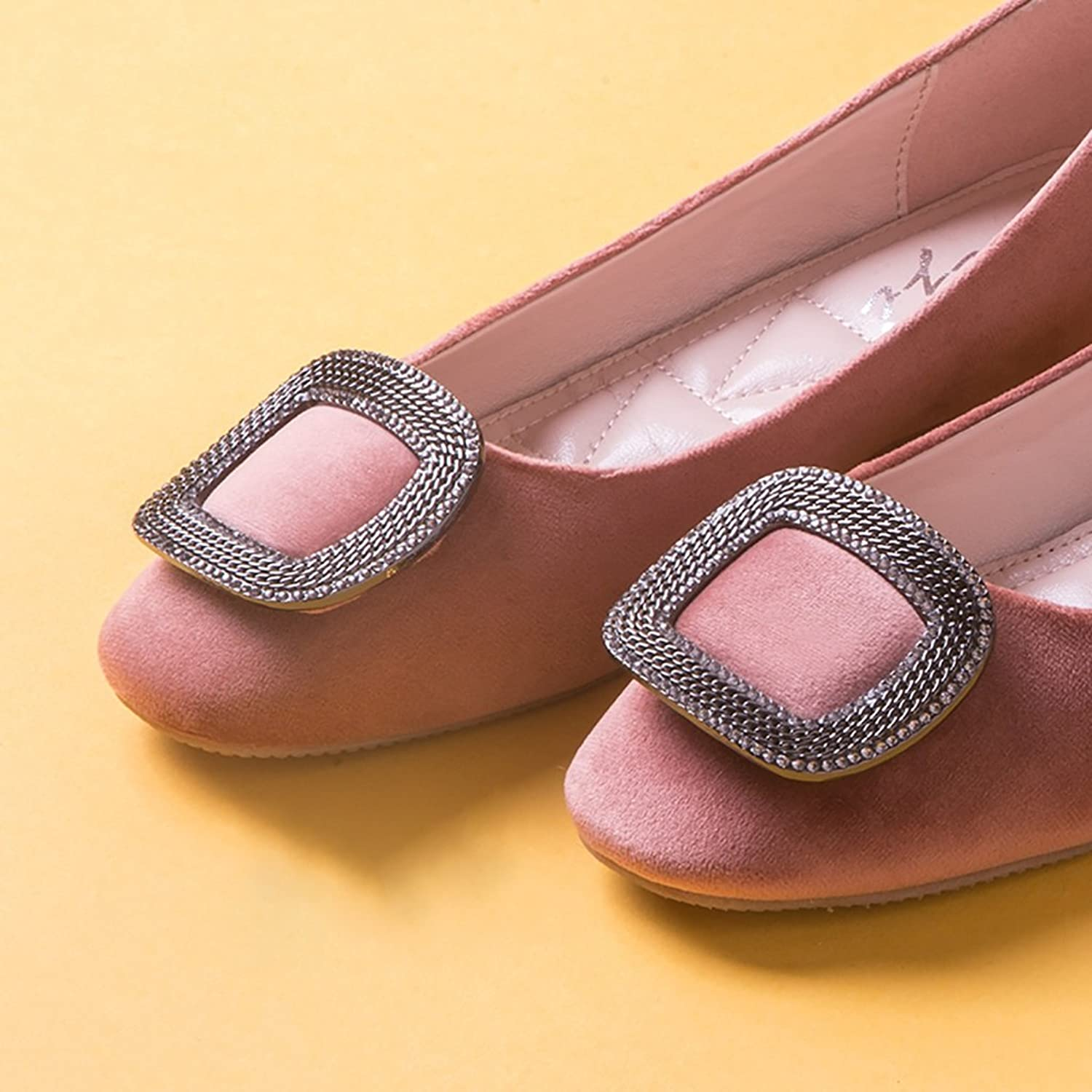 Fashion Simple Rhinestone Flat shoes Ladies Elegant Casual shoes ( color   Pink , Size   39 )