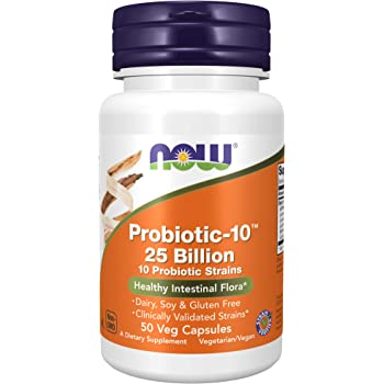 NOW Supplements, Probiotic-10, 25 Billion, with 10 Probiotic Strains, Strain Verified, 50 Veg Capsules