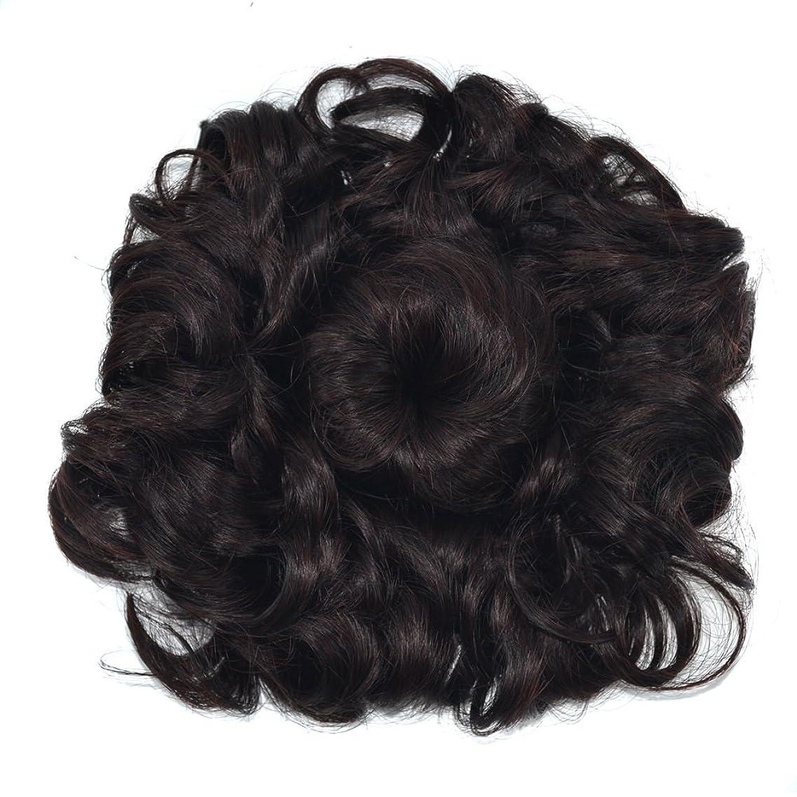 あえて化石終点JIANFU 波状のカーリーメシーヘアエクステンションウィッグシェイプのボタン付き巾着とふわふわサンフラワーウィッグヘアピース女性のヘアバンエクステンション (Color : 4# brown black)