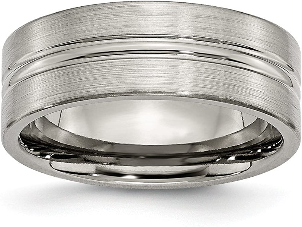 ICE CARATS Titanium Brushed 8mm Grooved Wedding Ring Band Fashion Jewelry for Women Gifts for Her