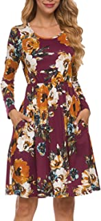 Women's Casual Floral Fall Long Sleeve Tunic Short Dress with Pockets