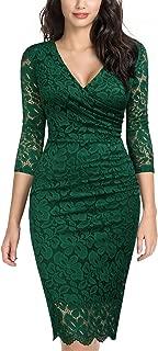 Women's Retro Deep-V Neck Ruffles Floral Lace Evening Pencil Dress