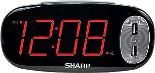SHARP Digital väckarklocka – lätt att se stor röd LED-skärm – 2 snabbladdande USB-laddningsportar – 2 x så snabbt som konv...