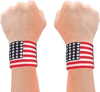 American Flag 2 Wrist Sweatbands USA Team Apparel Accessory Merica Sweatbands