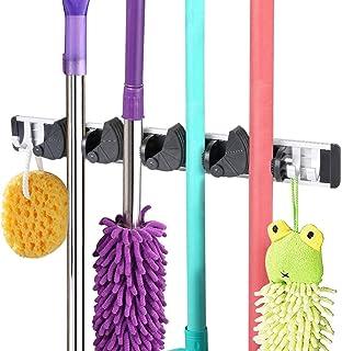 Vicloon Nouveau Porte balais Mural Multifonctions,Mop Crochet Support de Rangement avec 4 Emplacements Mobile 4 Crochets M...