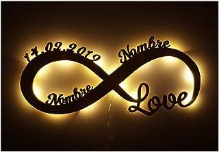 Te amo por siempre Regalos originales - Para tu Ellos él Amiga Novia Amigo Novio Pareja Hombre - De Aniversario - De Novios - De Boda - LED Decoración - Personalizados con Nombres