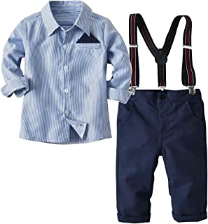 Aclonar Baby Boys Long Sleeve Gentleman Outfit Suits Set,Navy Shirt with Pocket Square+Blue Pant+Suspenders