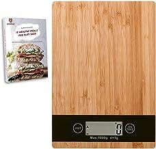 Godenzi Kitchen Scale, Eco Bamboo, 5kg/1g, Digital, Tare, Recipe eBook & Batteries