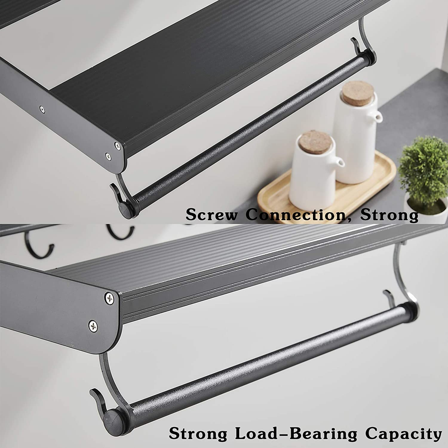 Microwave Wall Bracket Aluminum Alloy Kitchen Universal Shelf Wall Mounted Microwave Stand with Storage L 51.7 x W 15 x 3.35