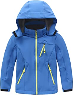 LANBAOSI Boys Girls Winter Warm Coat Kid's Fleece Lined Softshell Hoodies Jacket